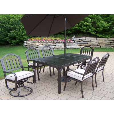 Rochester 9 Piece Dining Set with Cushions and Umbrella Umbrella Color: Brown
