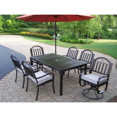 Rochester 8 Piece Dining Set with Cushions and Umbrella