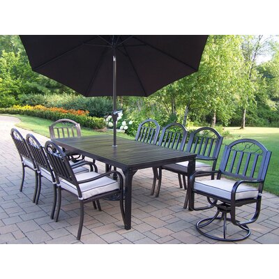 Rochester Dining Set with Cushions and Umbrella Umbrella Color: Brown