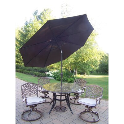 Stone Art Swivel Dining Set with Cushions and Umbrella