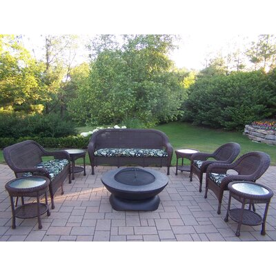 Resin Wicker 9 Piece Lounge Seating Group Set Finish: Coffee