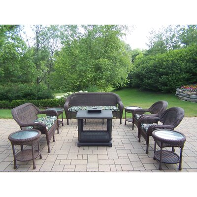 Resin Wicker 9 Piece Fire Pit Seating Group Set Finish: Coffee