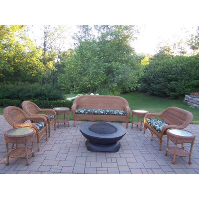 Resin Wicker 9 Piece Lounge Seating Group Set Finish: Natural