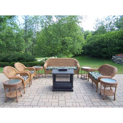 Resin Wicker 9 Piece Fire Pit Seating Group Set Finish: Natural