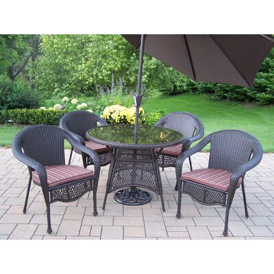 Oakland Living Elite Resin Wicker 5 Piece Dining Set with Cushions and Umbrella at Sears.com