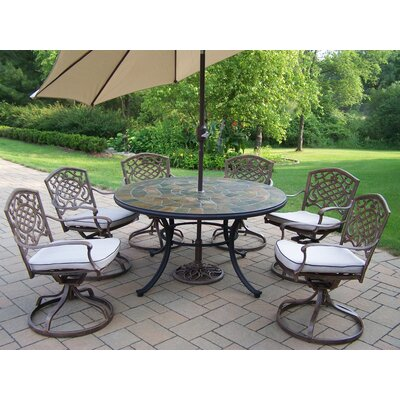 Stone Art Dining Set with Cushions and Umbrella Umbrella Color: Beige