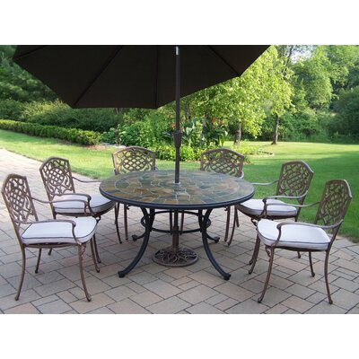 Stone Art Dining Set with Cushions and Umbrella Umbrella Color: Brown