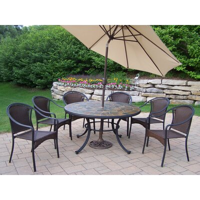 Tuscany Stone Art Dining Set with Umbrella Umbrella Color: Beige