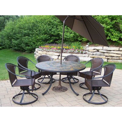 Tuscany Stone Art Dining Set with Umbrella Umbrella Color: Brown