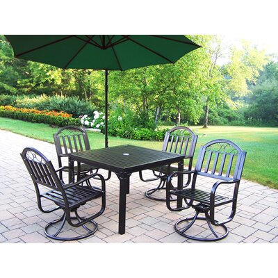Rochester 5 Piece Swivel Dining Set with Umbrella