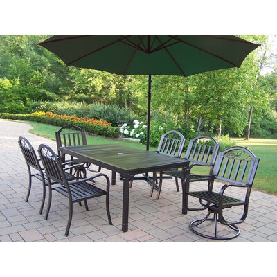 Red Barrel Studio Lisabeth 7 Piece Swivel Dining Set with Umbrella