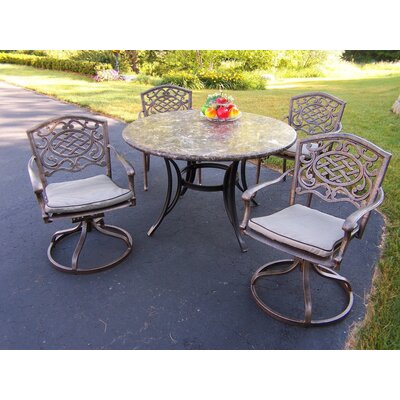 Stone Art 5 Piece Dining Set with Swivel Chairs and Cushions