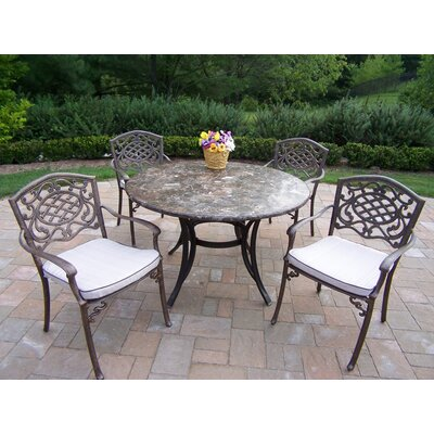 Stone Art 5 Piece Dining Set with Cushions