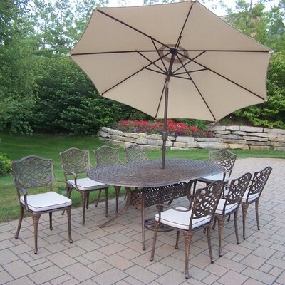 Mississippi 9 Piece Dining Set with Cushions and Umbrella Umbrella Color: Beige