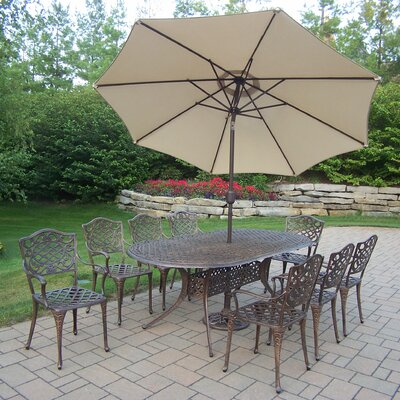 Mississippi 9 Piece Dining Set with Umbrella Umbrella Color: Beige