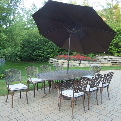 Mississippi 9 Piece Dining Set with Cushions and Umbrella Umbrella Color: Brown