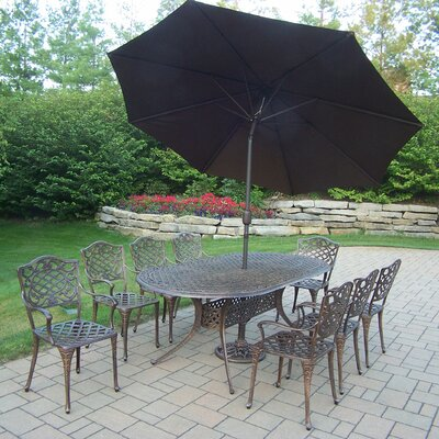 Mississippi 9 Piece Dining Set with Umbrella Umbrella Color: Brown