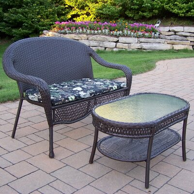Elite Resin Wicker 2 Piece Lounge Seating Group Set Fabric: Floral