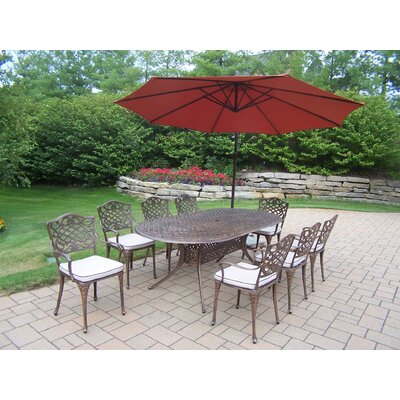 Mississippi 9 Piece Dining Set with Cushions and Umbrella
