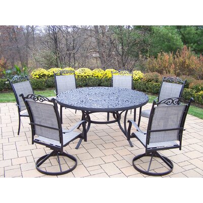 Mississippi 7 Piece Sling Dining Set Finish: Black
