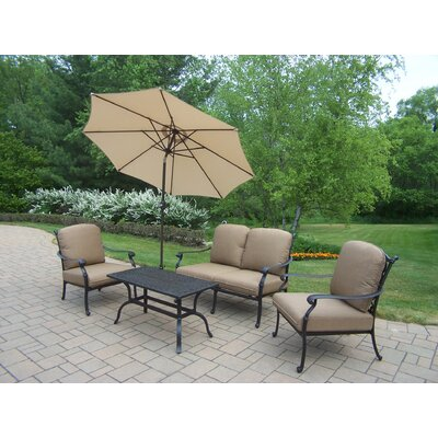 Hampton Aluminum 5 Piece Deep Seating Group with Cushions 7213-7212-7211-4005-BG-4101-9-D56-AB