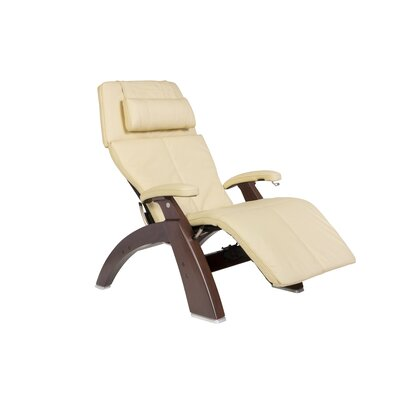 Human Touch Perfect Chair Classic Manual Zero-Gravity Recliner - Finish: Dark Walnut, Color: Ivory Top-Grain