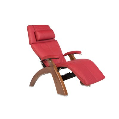 Human Touch Perfect Chair Classic Manual Zero-Gravity Recliner - Color: Red Top-Grain, Finish: Walnut