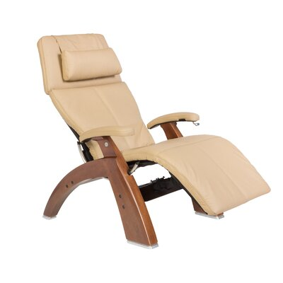 Human Touch Perfect Chair Classic Manual Zero-Gravity Recliner - Color: Sand Top-Grain, Finish: Walnut