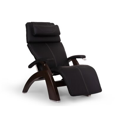 Perfect Chair� PC-420 ClassicPlus Zero-Gravity Recliner Color: Red, Finish: Dark Walnut, Leather Type: Top-Grain Leather