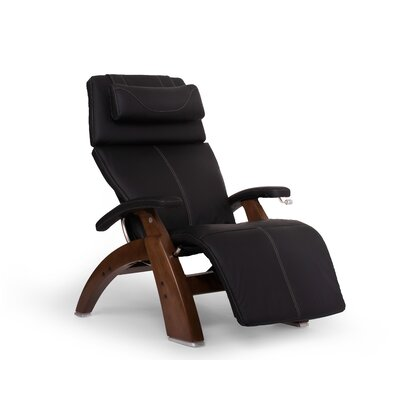 Perfect Chair� Manual Glider Recliner Color: Black, Finish: Dark Walnut, Leather Type: Top-Grain Leather