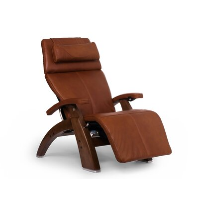 Perfect Chair� PC-610 Omni-Motion Classic Zero-Gravity Recliner Upholstery: Cognac, Leather Type: Full Grain Leather, Finish: Walnut