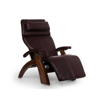 Perfect Chair� PC-610 Omni-Motion Classic Zero-Gravity Recliner Upholstery: Burgundy, Leather Type: Full Grain Leather, Finish: Walnut