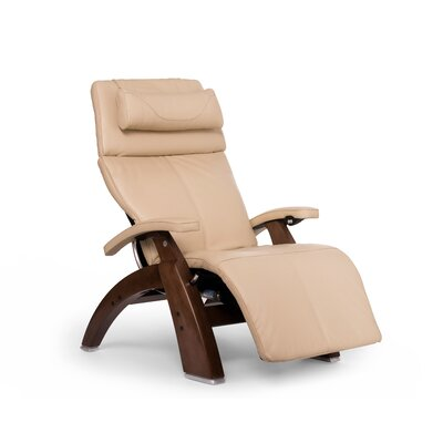Perfect Chair� PC-610 Omni-Motion Classic Zero-Gravity Recliner Upholstery: Ivory, Leather Type: Full Grain Leather, Finish: Walnut