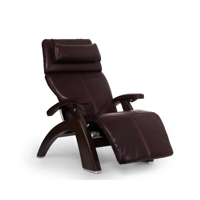 Perfect Chair PC-610 Omni-Motion Classic Zero-Gravity Recliner Upholstery: Burgundy, Finish: Dark Walnut, Leather Type: Full Grain Leather