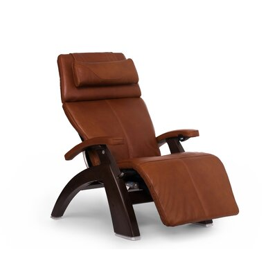 Perfect Chair� Power Glider Recliner Finish: Dark Walnut, Upholstery: Cognac, Leather Type: Full Grain Leather