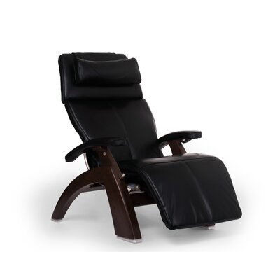 Perfect Chair PC-610 Omni-Motion Classic Zero-Gravity Recliner Upholstery: Black, Finish: Dark Walnut, Leather Type: Full Grain Leather