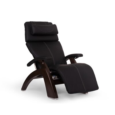 Perfect Chair� Power Glider Recliner Finish: Dark Walnut, Upholstery: Black, Leather Type: Top Grain Leather