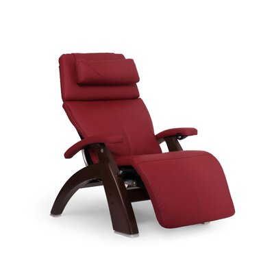 Perfect Chair� PC-610 Omni-Motion Classic Zero-Gravity Recliner Upholstery: Red, Finish: Chestnut, Leather Type: Top Grain Leather