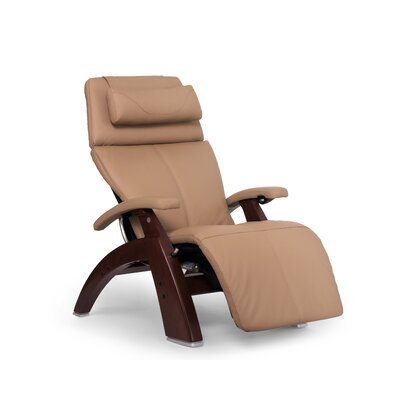 Perfect Chair� PC-610 Omni-Motion Classic Zero-Gravity Recliner Upholstery: Sand, Finish: Chestnut, Leather Type: Top Grain Leather