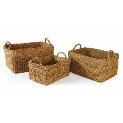 Seagrass 3 Piece Rectangle Basket with Cuff Set