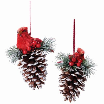 Cardinal Pine Cone Hanging Figurine (Set of 3)