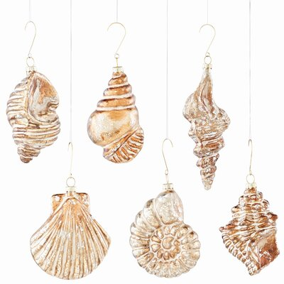 6 Piece Glass Seashell Shaped Ornament Set ROHE6071