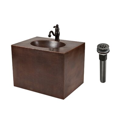 24 Single Hand Hammered Copper Wall Mount Bathroom Vanity Set