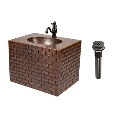 18 Single Hand Hammered Copper Wall Mount Bathroom Vanity Set