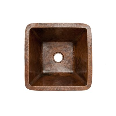 15 x 15 Square Hammered Copper Bar Sink Drain Size: 2