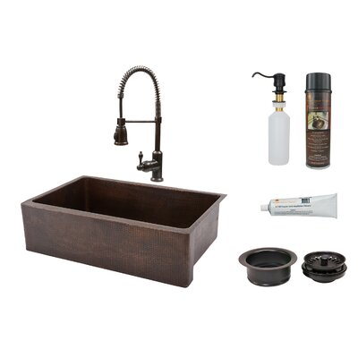 33 x 22 Apron Single Basin Kitchen Sink with Faucet