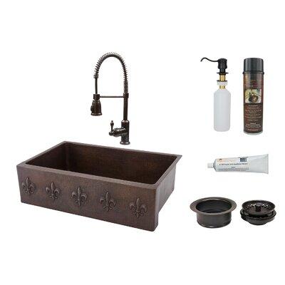Fleur De Lis 33 x 22 Apron Single Basin Kitchen Sink with Faucet