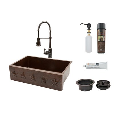 Star 33 x 22 Apron Single Basin Kitchen Sink with Faucet