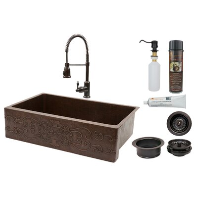 35 x 22 Apron Single Basin Kitchen Sink with Faucet