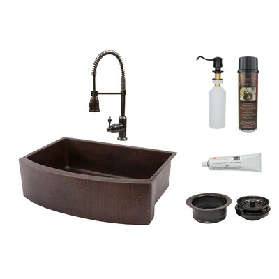 33 x 24 Rounded Apron Single Basin Kitchen Sink with Faucet